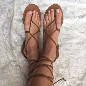 Mossimo tie-up brown sandals